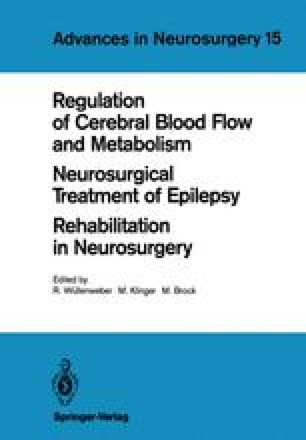 Regulation of Cerebral Blood Flow and Metabolism Neurosurgical Treatment of Epilepsy Rehabilitation in Neurosurgery