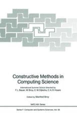Constructive Methods in Computing Science