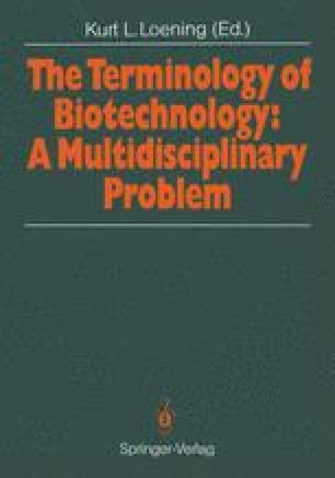 The Terminology of Biotechnology: A Multidisciplinary Problem