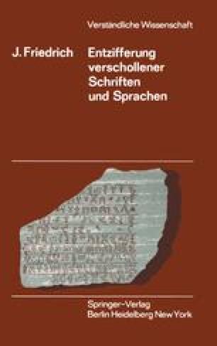 Entzifferung Verschollener Schriften und Sprachen