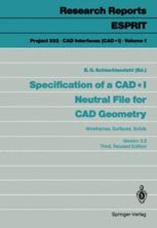 Specification of a CAD * I Neutral File for CAD Geometry