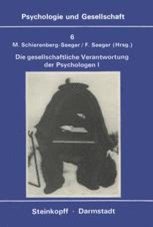 Die Gesellschaftliche Verantwortung Der Psychologen