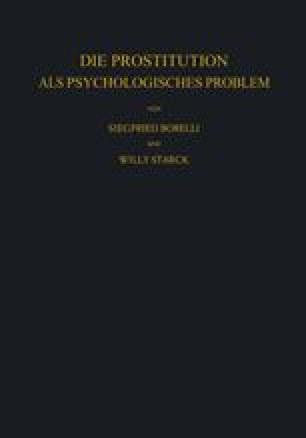 Die Prostitution als Psychologisches Problem