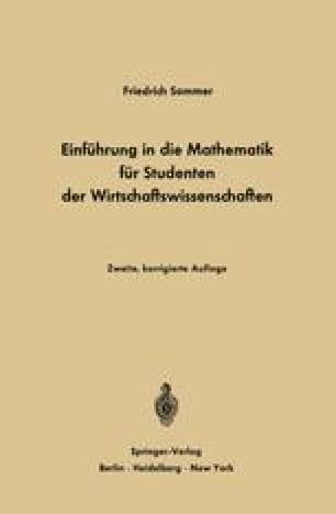 Einführung in die Mathematik für Studenten der Wirtschaftswissenschaften