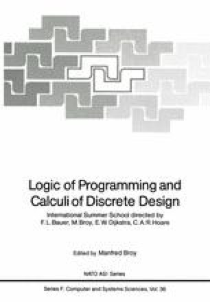 Logic of Programming and Calculi of Discrete Design