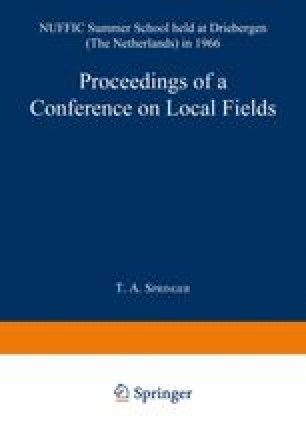 Proceedings of a Conference on Local Fields
