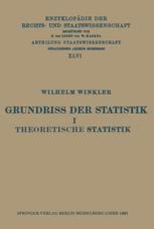 Grundriss der Statistik I Theoretische Statistik