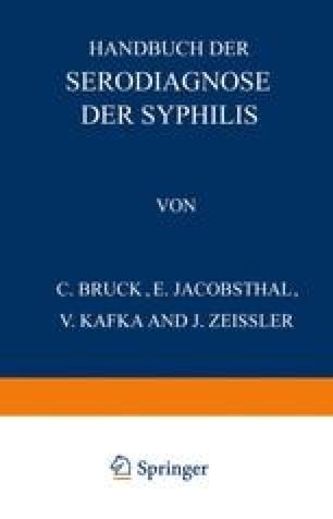 Handbuch der Serodiagnose der Syphilis