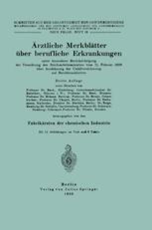 Ärztliche Merkblätter über berufliche Erkrankungen