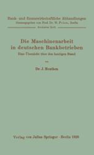 Die Maschinenarbeit in deutschen Bankbetrieben