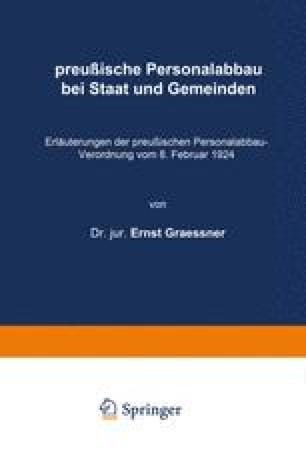 preußische Personalabbau bei Staat und Gemeinden