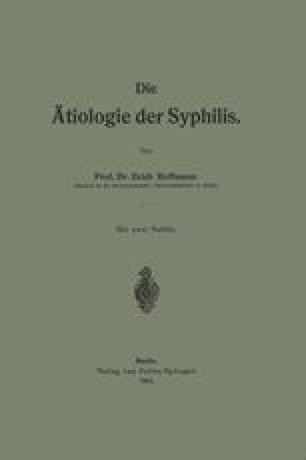 Die Ätiologie der Syphilis