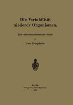 Die Variabilität niederer Organismen