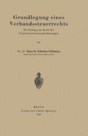 Grundlegung eines Verbandssteuerrechts