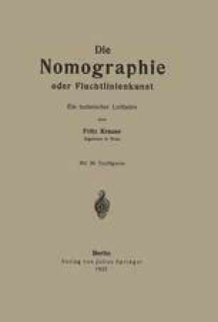 Die Nomographie oder Fluchtlinienkunst