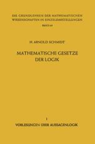 Mathematische Gesetze der Logik I
