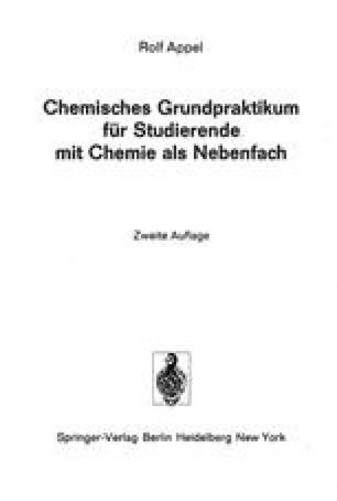 Chemisches Grundpraktikum für Studierende mit Chemie als Nebenfach