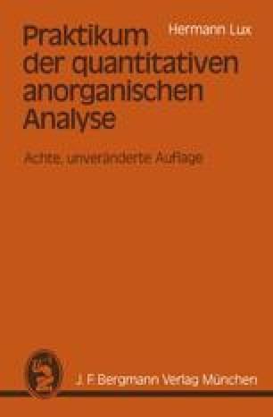 Praktikum der quantitativen anorganischen Analyse