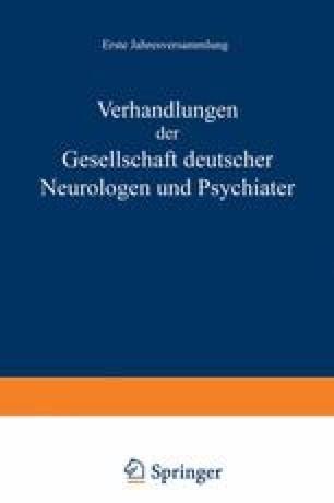Verhandlungen der Gesellschaft Deutscher Neurologen und Psychiater