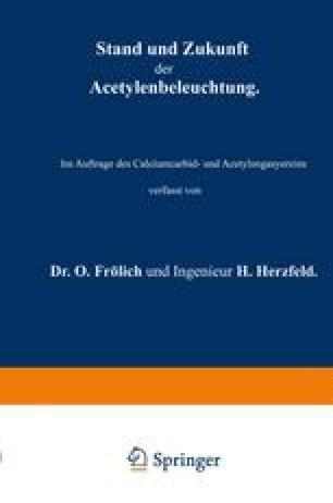 Stand und Zukunft der Acetylenbeleuchtung