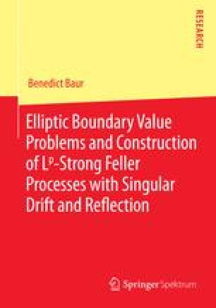 Elliptic Boundary Value Problems and Construction of Lp-Strong Feller Processes with Singular Drift and Reflection