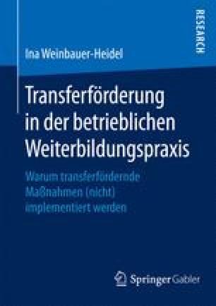 Transferförderung in der betrieblichen Weiterbildungspraxis