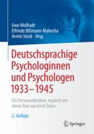 Deutschsprachige Psychologinnen und Psychologen 1933–1945