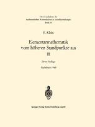 Elementarmathematik vom Höheren Standpunkte aus, III