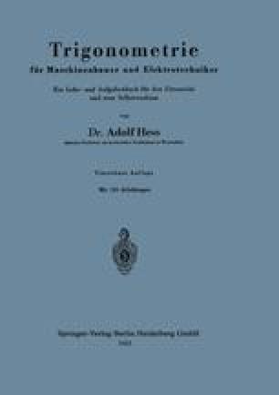 Trigonometrie für Maschinenbauer und Elektrotechniker