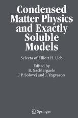 Condensed Matter Physics and Exactly Soluble Models