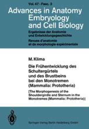 Die Frühentwicklung des Schultergürtels und des Brustbeins bei den Monotremen (Mammalia: Prototheria)
