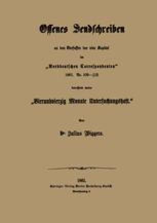 """Offenes Sendschreiben an den Verfasfer der vier Kapital im """"Norddeutschen Correspondenten"""" 1861"""