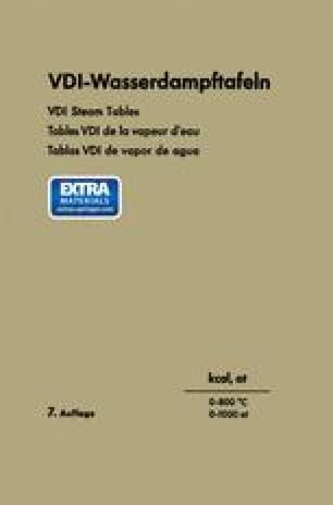 VDI-Wasserdampftafeln / VDI Steam Tables / Tables VDI de la vapeur d'eau / Tablas VDI de vapor de agua