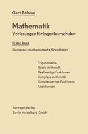 Elementar-mathematische Grundlagen