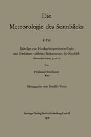 Die Meteorologie des Sonnblicks