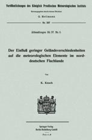 Der Einfluß geringer Geländeverschiedenheiten auf die meteorologischen Elemente im norddeutschen Flachlande