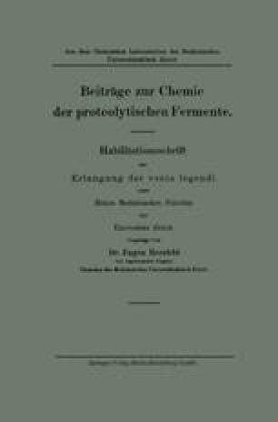 Beiträge zur Chemie der proteolytischen Fermente