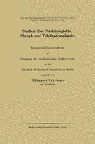 Studien über Methämoglobin, Phenyl- und Tolylhydroxylamin