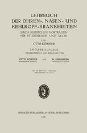 Lehrbuch der Ohren-, Nasen- und Kehlkopf-Krankheiten