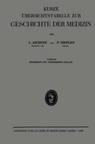 Kurze Übersichtstabelle Zur Geschichte der Medizin