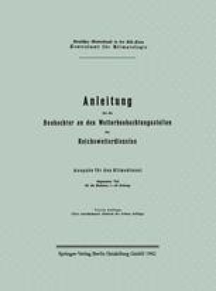 Anleitung für die Beobachter an den Wetterbeobachtungsstellen des Reichswetterdienstes