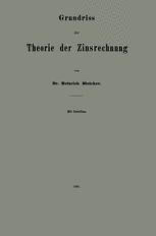 Grundriss der Theorie der Zinsrechnung