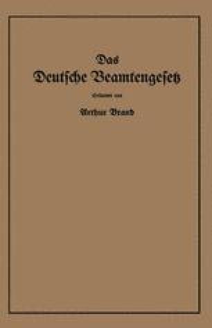 Das Deutsche Beamtengesetz (DBG)