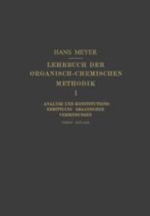 Lehrbuch der Organisch-Chemischen Methodik