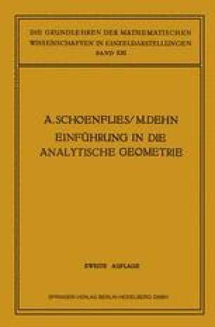 Einführung in die Analytische Geometrie der Ebene und des Raumes