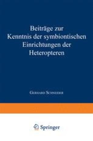 Beiträge zur Kenntnis der symbiontischen Einrichtungen der Heteropteren