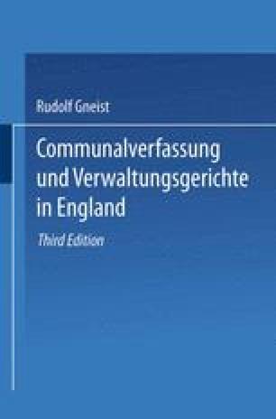 Communalverfassung und Verwaltungsgerichte in England