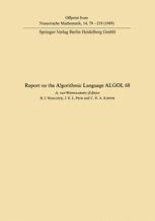 Report of Algorithmic Language ALGOL 68