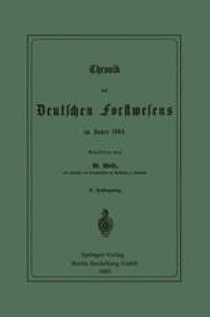 Chronik des Deutschen Forstwesens im Jahre 1884