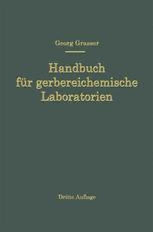 Handbuch für Gerbereichemische Laboratorien